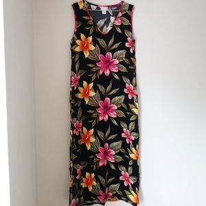VINTAGE • Hawaiian Hibiscus Flower Maxi Slit Dress